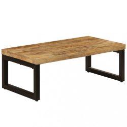 tömör mangófa és acél dohányzóasztal 110 x 50 x 35 cm