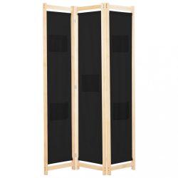 fekete 3-paneles szövetparaván 120 x 170 x 4 cm