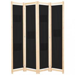 fekete 4-paneles szövetparaván 160 x 170 x 4 cm
