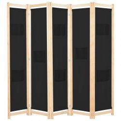 fekete 5-paneles szövetparaván 200 x 170 x 4 cm
