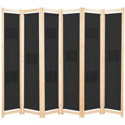 fekete 6-paneles szövetparaván 240 x 170 x 4 cm