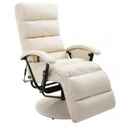 krémszínű és fehér dönthető, masszírozó műbőr TV-fotel