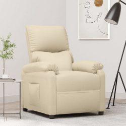 krémszínű szövetkárpitozású dönthető TV-fotel