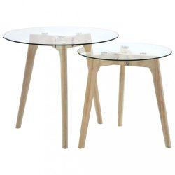 2 db edzett üveg kisasztal