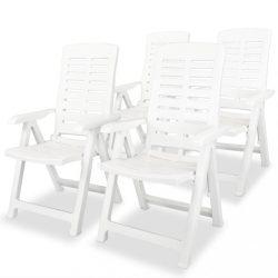 4 db fehér dönthető műanyag kerti szék