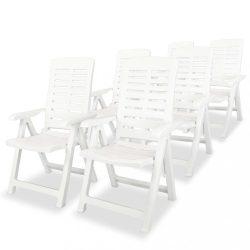 6 db fehér dönthető műanyag kerti szék