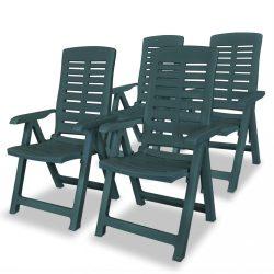 4 db zöld dönthető műanyag kerti szék