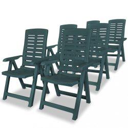 6 db zöld dönthető műanyag kerti szék