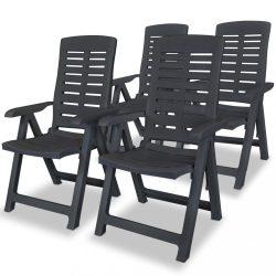 4 db antracitszürke dönthető műanyag kerti szék