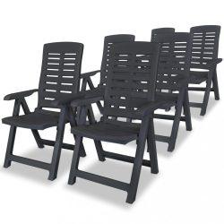 6 db antracitszürke dönthető műanyag kerti szék