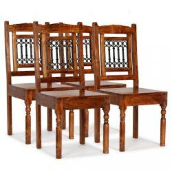 4 db klasszikus stílusú tömör fa szék paliszander felülettel