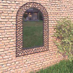 íves fekete kerti falitükör 50 x 80 cm