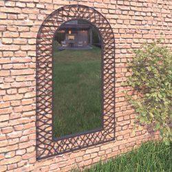 íves fekete kerti falitükör 60 x 110 cm
