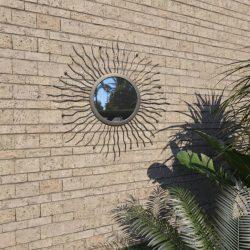 fekete kerti falitükör napsütésszerű dizájnnal 60 cm