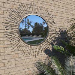 fekete kerti falitükör napsütésszerű dizájnnal 80 cm