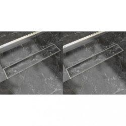 2 db lineáris rozsdamentes acél zuhany lefolyó 630 x 140 mm