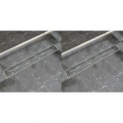 2 db lineáris rozsdamentes acél zuhany lefolyó 830 x 140 mm