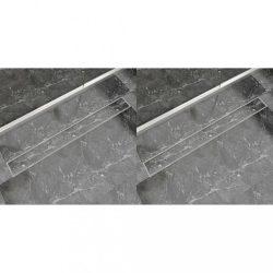 2 db lineáris rozsdamentes acél zuhany lefolyó 1030 x 140 mm