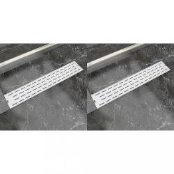 2 db lineáris rozsdamentes acél vonal zuhany lefolyó 630x140 mm