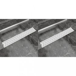 2 db lineáris rozsdamentes acél vonal zuhany lefolyó 730x140 mm
