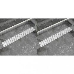 2 db lineáris rozsdamentes acél vonal zuhany lefolyó 830x140 mm