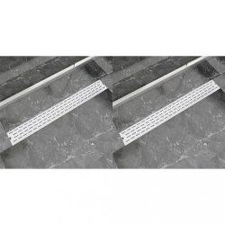 2 db lineáris rozsdamentes acél vonal zuhany lefolyó 930x140 mm