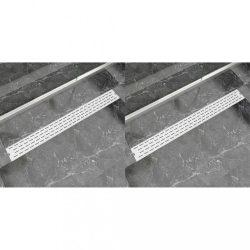 2 db lineáris rozsdamentes acél vonal zuhany lefolyó 1030x140mm