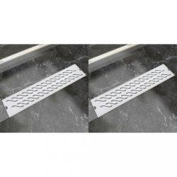 2db lineáris rozsdamentes acél hullám zuhany lefolyó 530x140mm