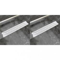 2db lineáris rozsdamentes acél hullám zuhany lefolyó 630x140mm