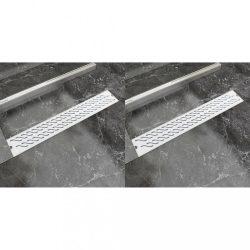 2db lineáris rozsdamentes acél hullám zuhany lefolyó 730x140mm