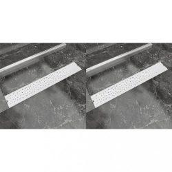 2db lineáris rozsdamentes acél buborék zuhany lefolyó 730x140mm