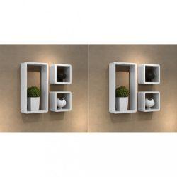 6 db fehér kocka alakú fali polc