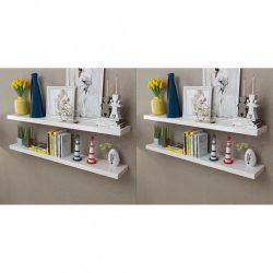 4 db fehér fali polc 120 cm