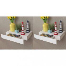 2 db fehér lebegő fali polc fiókkal 48 cm