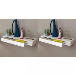 2 db fehér lebegő fali polc fiókkal 80 cm