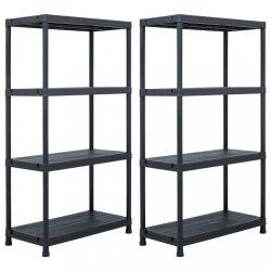2 db fekete műanyag tároló polc állvány 60 x 30 x 138 cm