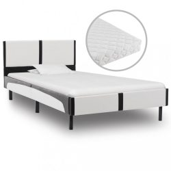 fehér és fekete műbőr ágy matraccal 90 x 200 cm