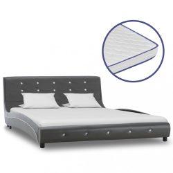 szürke műbőr ágy memóriahabos matraccal 140 x 200 cm
