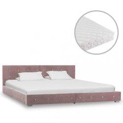 rózsaszín bársonyágy matraccal 160 x 200 cm