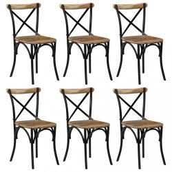 6 db fekete tömör mangófa kereszt háttámlás szék