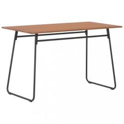 barna tömör furnérlemez és acél étkezőasztal 120 x 60 x 73 cm