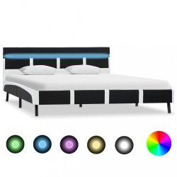 fekete LED-es műbőr ágykeret 140 x 200 cm