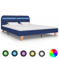 kék szövetkárpitozású LED-es ágykeret 160 x 200 cm