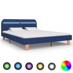 kék szövetkárpitozású LED-es ágykeret 180 x 200 cm