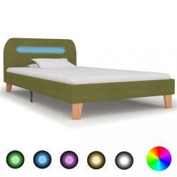 zöld szövetkárpitozású LED-es ágykeret 90 x 200 cm