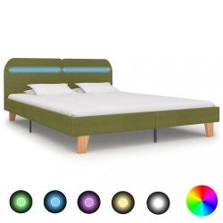 zöld szövetkárpitozású LED-es ágykeret 160 x 200 cm