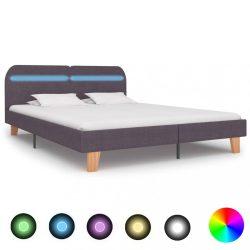 szürkésbarna szövetkárpitozású LED-es ágykeret 160 x 200 cm