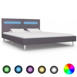 szürke szövetkárpitozású LED-es ágykeret 180 x 200 cm