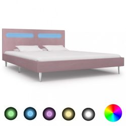 rózsaszín szövetkárpitozású LED-es ágykeret 180 x 200 cm