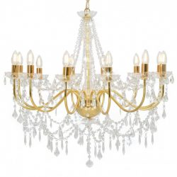 aranyszínű csillár gyöngyökkel és 12 db E14 izzófoglalattal
